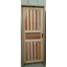 Porta americana de madeira maciça com batente caixa 14, fechadura, dobradiça completa e montada